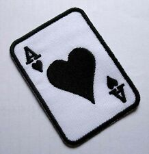 POKER CARD ACE A BLACK HEART Embroidered Iron on Patch Free Shipping