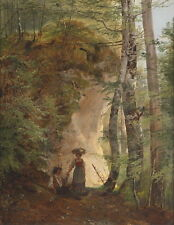 Beautiful Oil painting couple in forest landscape handpainted canvas