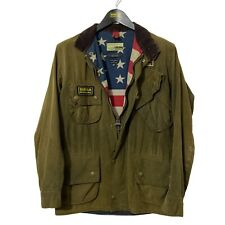Barbour Steve McQueen REXTON Olive Wax Waxed Biker USA Flag Jacket Small S 36""