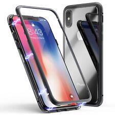 magnetische Metall Glas Schutzhülle Bumper Case für Apple iPhone X In schwarz