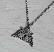 Munin Pendant Necklace Viking Norse (C) Antique Silver Plt Odin's Ravens Hugin &