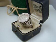 VINTAGE STERLING SILVER GREEK 1926 COIN LEPTA PINKY INTAGLIO SIGNET RING SIZE Q