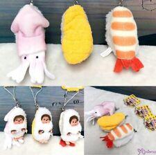 Monchhichi 7.5cm Plush Sushi Mascot Shrimp Sea Urchin Sqiud (Set of 3pcs)