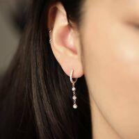 Diamond Huggie Hoops with Bezel Drop Dangle Earrings / 11mm Diamond Hoops