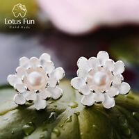 Lotus Flower White Freshwater Pearl Stud Earrings 925 Sterling Silver Jewelry