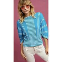 Anthropologie Moth Womens Sky Blue Palma Striped Dolman Sleeve Sweater Sz XS EUC