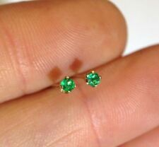 New .06 CTW Natural Top Quality Colombian Emerald 14K Yellow Gold  Earring Studs