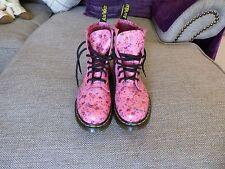 DOC MARTENS LADIES PINK FLORAL BOOTS SIZE 4 UK