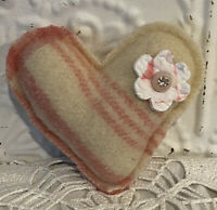 New Handmade Heart Pillow  Vintage Wool Blanket  Old Feed Sack Quilt Flower
