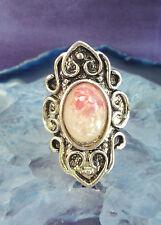 Anello vintage stile TIBET ARGENTO SCUDO a forma conchiglia madreperla rosa bianco in resina