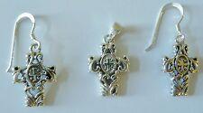 Cross Sterling Earrings/Pendant Set, Sterling Cross Pendant/Earrings (3 Pcs)
