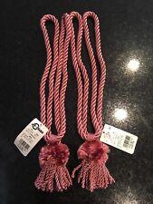 """Vintage Rope Fringe Pom Pom Tassel Window Curtain Holdback Tie Back Set of """"2"""""""