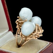 Antique Vintage Deco Mid Century 14k Yellow Gold South Sea Pearl HUGE Ring Sz 6