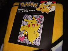 NWT Cute Pokemon Happy Pikachu With Hearts Anime NES 46x60 Plush Throw Blanket