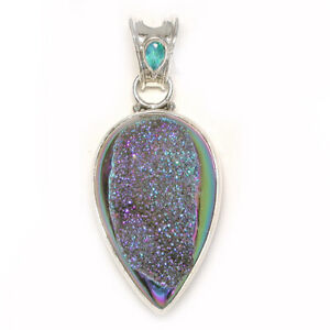 Offerings Sajen Sterling Silver Forest Window Druzy Pendant & Caribbean Quartz