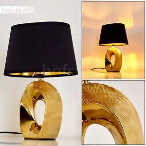 Nacht Tisch Lese Lampen Wohn Schlaf Zimmer Leuchten Stoff schwarz Keramik gold