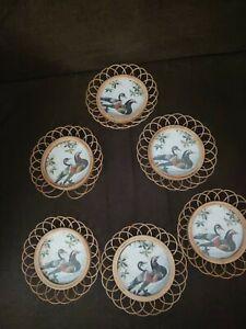 Vintage  Set 6 Duck Bamboo/Wicker Coasters