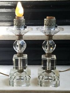 "PAIR **Vintage Mid Century Modern Cut Glass Crystal Table Lamps (1 Pair) 10""**"