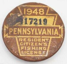 1948 PA Pennsylvania Fishing License Resident Button Vintage