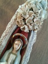 Antique Catholic Mary Madonna Lace Folk Art Flowers Salvage or Wall Decor