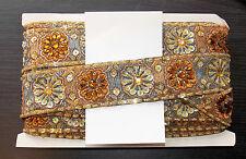 Teal Topacio Oro Joya Lentejuelas indio Pastel de Bodas Baile Disfraz cinta de diamantes de imitación