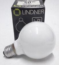 Lindner Bulb 40w E27 235v 2000h Globe Lamp Light G80 Opalized Opalin Nos Germany