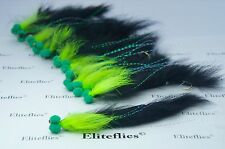 12 x Eliteflies Black n' Green Snake Booby fly fishing lures size 8 barbed