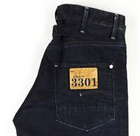 G-Star Brut Hommes Frontière Pantalon Original Jeans Jambe Droite Taille W32 L34