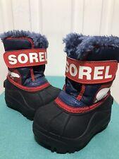 Sorel Commander Toddler Black Blue Snow Winter Boots Size 4 Faux Fur