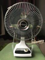"Vintage Panasonic Oscillating Desk Fan F-9200 2 Speed 9"" Gray Blade Matsushita"