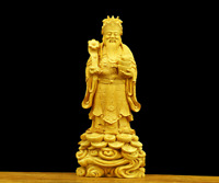 Chinese Box-wood Hand Carving Fengshui Mammon Money Wealth Yuanbao God Hold Ruyi