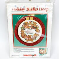 Dimensions Holiday Teddies Hoop Stamped Cross Stitch Kit #8354 Christmas NOS