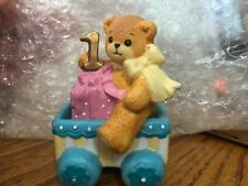 Enesco Lucy and Me Riggs Bear One Year Old Birthday cart present bow pink blue