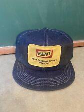 NOS VTG Denim K-brand BIG patch Kent Nova Farmer Supply Trucker Hat Cap Snapback