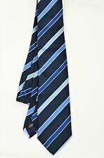 Cravate bleue soie rayée MICHAELIS blue regimental silk tie