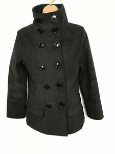 WOMENS TFNC CHARCOAL GREY DOUBLE BREASTED FUNNEL NECK COAT JACKET SIZE UK 6/8