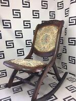 Antique Vintage Foldable Wood Rocking Chair Rocker Victorian Tapestry Wooden VTG