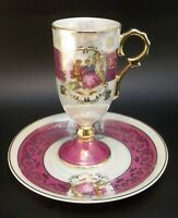 Tall Pedestal Demitasse Tea Cup Saucer Set Bone China Pink Courting Couple