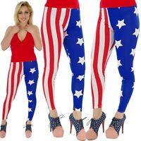 STARS & STRIPES PRINT LEGGINGS FANCY DRESS GOTH ALTERNATIVE size 18-20
