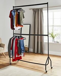 Two Tier Heavy Duty Clothes Rail Garment Hanging Rack 4ft 5ft 6ft