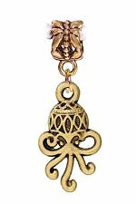 Octopus Sea Life Aquarium Animal Gold Tone Dangle Charm for European Bracelets