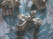 Jewelry Connectors - Silver Bows with Clear Rhinestones - 19mm charm - 3 pieces