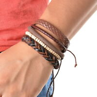 Fashion Braided Adjustable Leather Bracelet Punk Jewelry Cuff Women/Men`s Gift