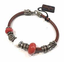Bracciale da donna in pelle argento 925 con corallo e agata tutto fusione