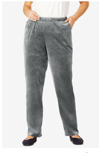 Womans Within Velour Pants Large Gray Straight Leg