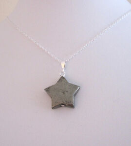 Natural Pyrite STAR gemstone pendant with chain necklace