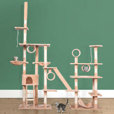 New listing Beige Deluxe Cat Tree Multilevel Activity Tower Condo W/ Hammock Scratching Pole