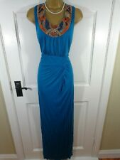 Monsoon Blue Beaded Maxi Dress, UK 16 18, Excellent Condition
