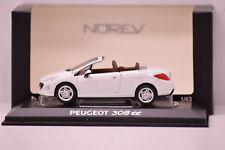 PEUGEOT 308 CC PHASE I 2008 BLANC NOREV 1/43 NEUVE EN BOITE
