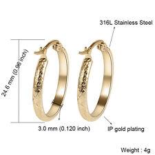 316L Stainless Steel Fashion Women Lady Gold/Silver Round Hoop Earrings Jewelry